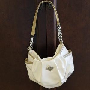 Vera Wang white and tan shoulder bag